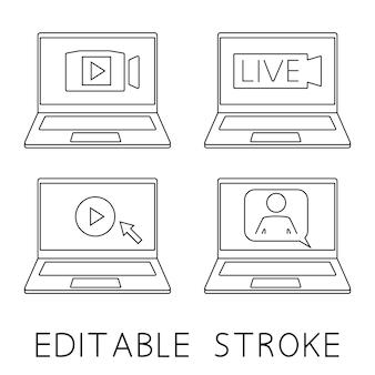 Laptop z człowiekiem i dymkiem do wideokonferencji, wideokonferencji, czatów wideo