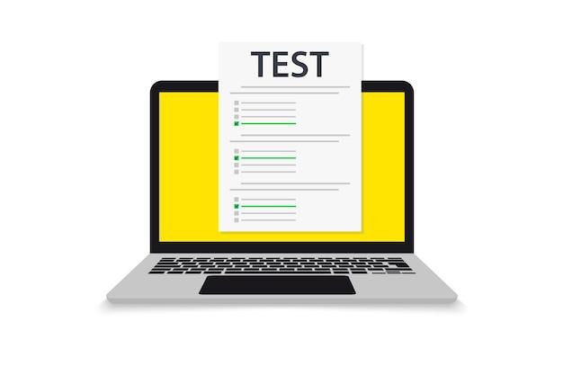 Laptop z formularzem testowym online. egzamin online. komputer z ankietą online. koncepcja testu wiedzy. ikona dokumentu egzaminu, wyniki online, test internetowy. lista kontrolna z zaakceptowaną prawidłową odpowiedzią