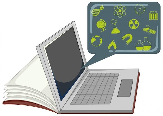 Laptop z ikoną edukacji na białym tle