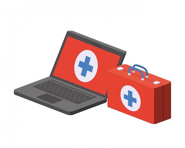 Laptop z ikona na białym tle zestaw pierwszej pomocy
