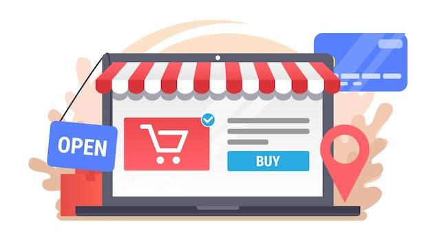 Laptop z ikonami handlu elektronicznego. ilustracja zakupy online