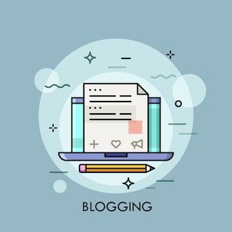 Laptop z interneta blogiem na ekran cienkiej kreskowej ilustraci