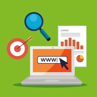 Laptop z kursorem strzałki i informacjami biznesowymi