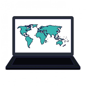 Laptop z mapy świata na ekranie
