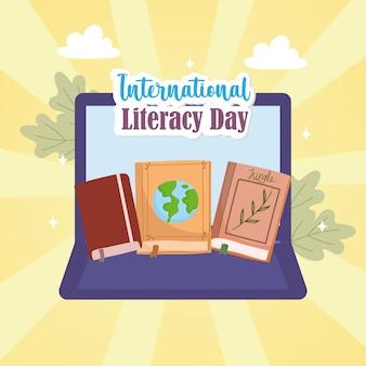 Laptop z międzynarodowym dniem czytania i pisania