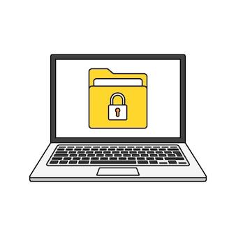 Laptop z ochroną plików na ekranie. koncepcja bezpieczeństwa i prywatności danych. bezpieczne informacje poufne.