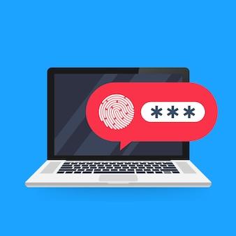 Laptop z odblokowanym powiadomieniem bąbelkowym hasłem