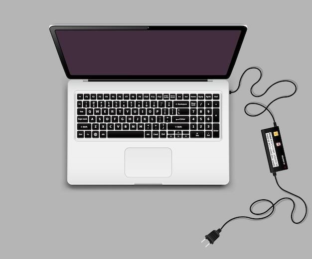 Laptop z odłączoną ładowarką