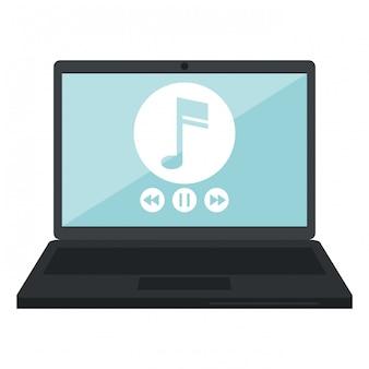 Laptop z odtwarzaczem muzyki