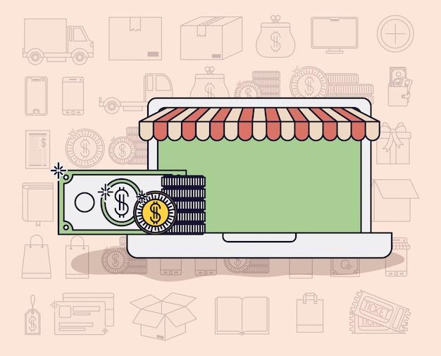 Laptop z parasolem i ikony e-commerce