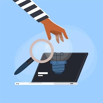 Laptop z plagiatem pojęcia ilustracją