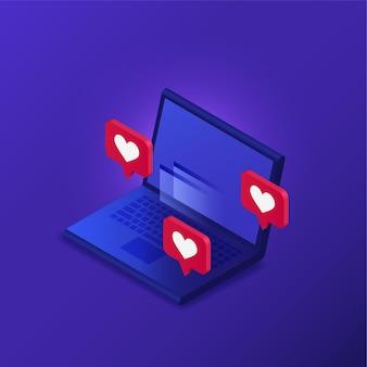 Laptop z polubieniami w rzucie izometrycznym