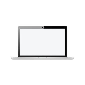 Laptop z pustym ekranem dotykowym na białym tle na ilustracji wektorowych biały