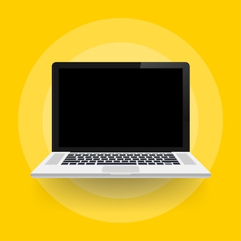 Laptop z pustym ekranem w stylu płaski.