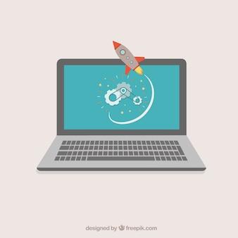 Laptop z rakietą