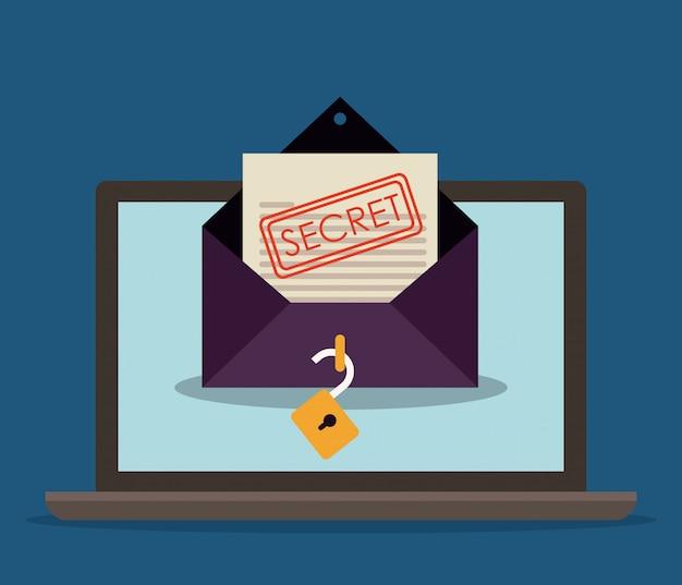 Laptop z tajną kopertą e-mail. koncepcja bezpieczeństwa online