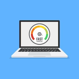 Laptop z testem prędkości na ekranie.