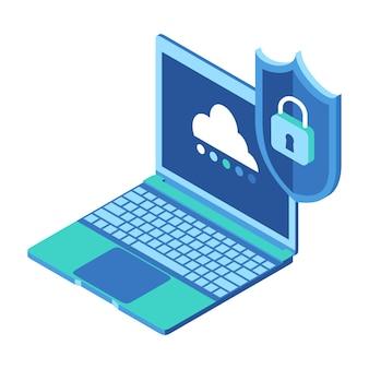 Laptop z zabezpieczeniem danych w chmurze