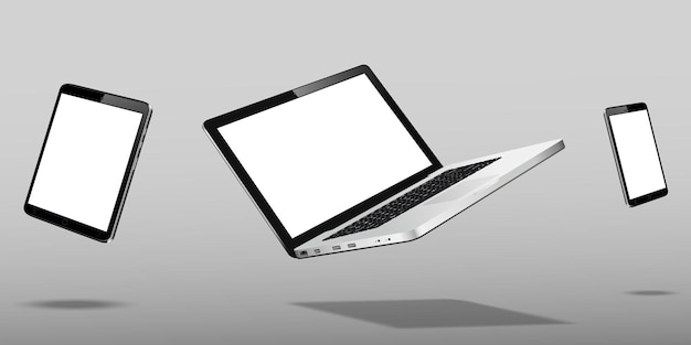 Laptopa smartfon i tablet unoszący się na szarym tle