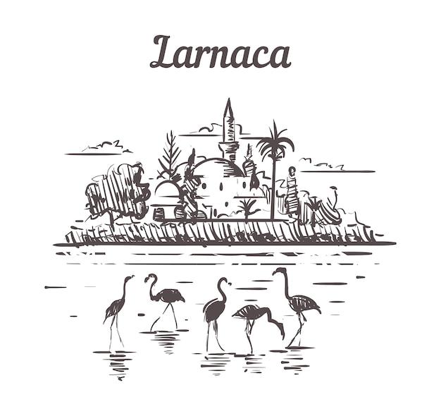 Larnaca, cypr szkic krajobrazu
