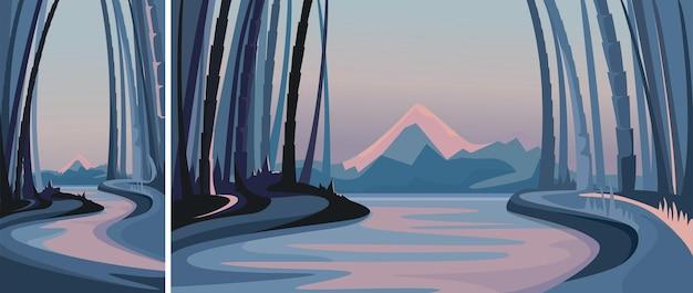 Las bambusowy na tle gór. sceneria przyrodnicza w orientacji pionowej i poziomej.