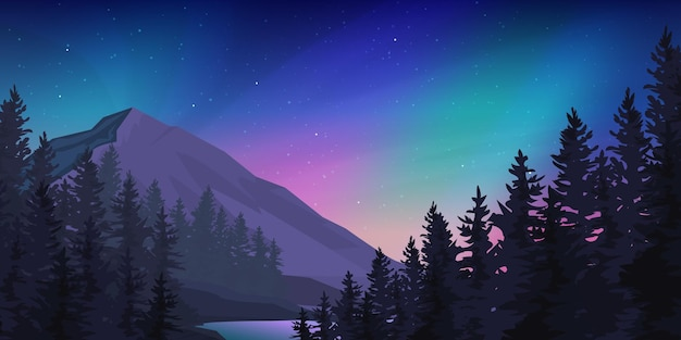 Las górski w krajobrazie zorzy polarnej