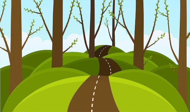 Las na wzgórzach w tle. kwitnący wiosną las.