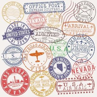 Las vegas nevada zestaw wzorów pieczęci podróżniczych i biznesowych