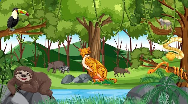 Las w scenie dziennej z różnymi dzikimi zwierzętami