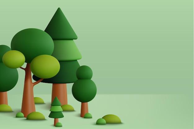 Las w zielonym tle