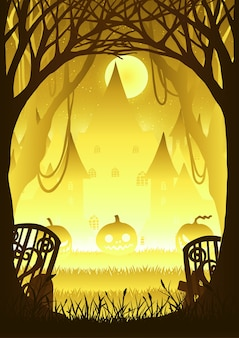 Las z banią na halloween nocy.