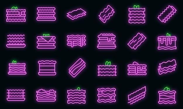 Lasagne ikony ustaw wektor neon