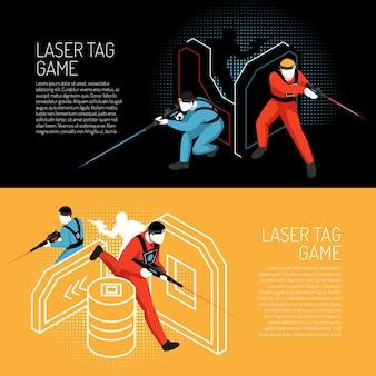 Laserowa etykietki gry wieloosobowej gry zespołowej isometric horyzontalni kolorowi sztandary z graczami w akcja wektoru ilustraci