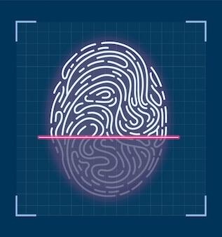Laserowe skanowanie odcisków palców. futurystyczny interfejs.