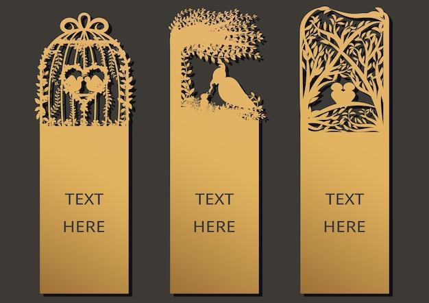 Laserowo wycinane szablon ramki dla karty z pozdrowieniami, zakładki.