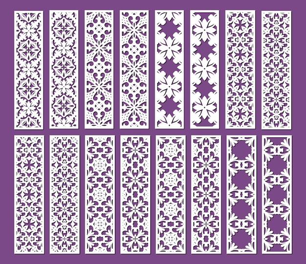 Laserowo wycinane szablony ozdobnych paneli zestaw ozdobnych koronkowych obramowań wektorowych wzorów