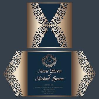 Laserowo wycinane zaproszenie na ślub krotnie szablon karty fold. karta do cięcia papieru z wzorem koronki.