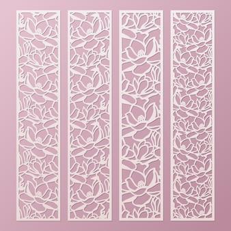 Laserowo wycinany szablon paneli ozdobnych z wzorem kwiatów magnolii. koronkowa zakładka z papieru, wycinanie szablonów krawędzi. panel szalunkowy szafki.