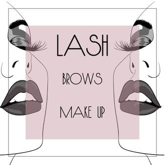 Lash brow makijaż kwadratowy baner