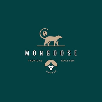 Łasica, mangusta, koncepcja projektowania logo kawiarni civet