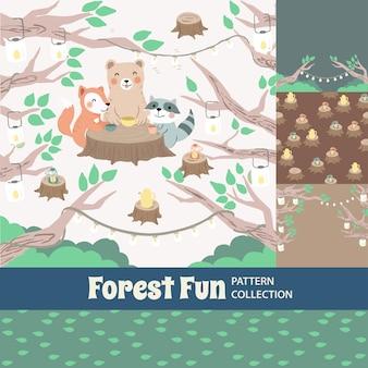 Lasowa zabawa śliczna tęcza bezszwowy wzór