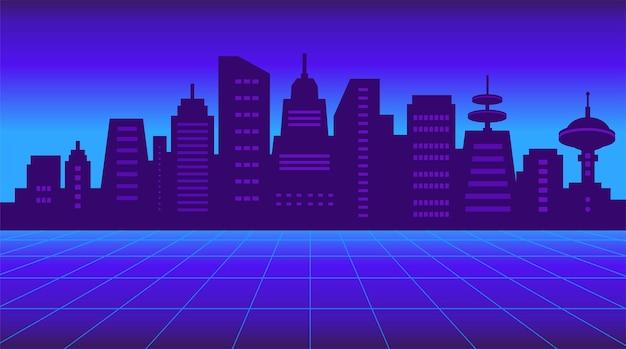 Lat 80. retro sci-fi tło. futurystyczna sylwetka miasta neon noc z drapaczami chmur. ilustracja wektorowa w kolorach ciemnoniebieskim, fioletowym