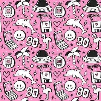 Lat 90-tych w stylu retro vintage nastolatka wzór. wektor kreskówka doodle charakter ilustracja tapeta projekt. lata 90., 1990, nastolatek, delfin, palma, nadruk twarzy z uśmiechem na plakat, koncepcja bezszwowego wzoru koszulki