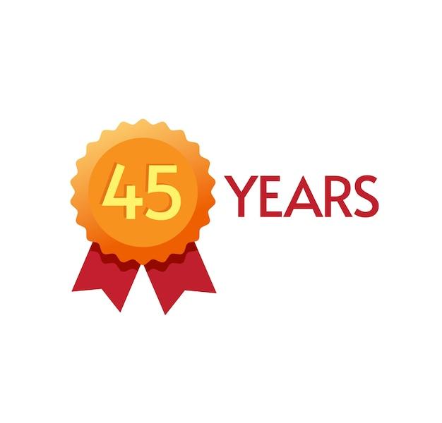 Lat rocznica odznaka płaski symbol th lub numer jeden na nowoczesnym złotym rozecie projekt nagrody czterdzieści pięć urodziny modny symbol clipart