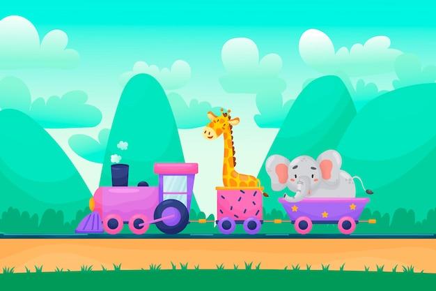 Lata krajobrazowy tło z śmiesznymi kreskówek zwierząt charakterami jedzie kolej, płaska ilustracja.