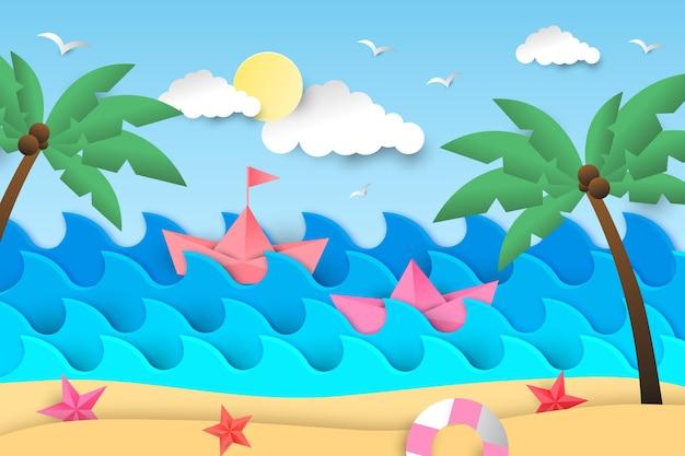 Lata tło z plażą i drzewkami palmowymi