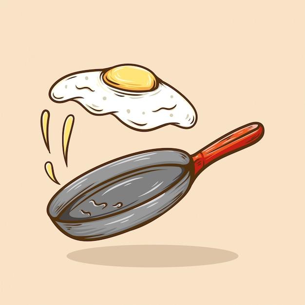 Latać smażącą jajeczną ilustrację retro