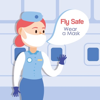Lataj bezpieczną kampanią ze stewardessą rozmawiającą wektorową ilustracją