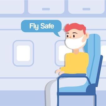 Lataj bezpiecznie kampania z pasażerem rozmawiającym w fotelu samolotu