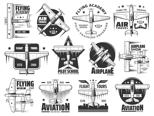 Latająca akademia lub zestaw ikon szkoły pilotażu. podróże lotnicze, pokaz samolotów i kursy lotnicze program szkoleniowy godło lub odznaka. historyczny dwupłatowy i jednopłatowy, retro wektor samolotów śmigłowych
